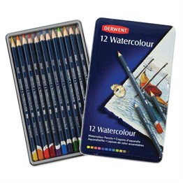 Derwent Watercolour Pencils 12 Pieces Metal Box
