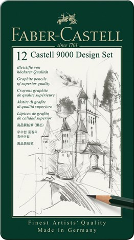 Faber Castell 9000 graphit hard pencil Design Set (5B-5H)
