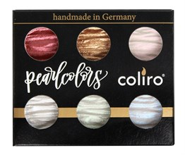Finetec Coliro Pearl Color Yaldız Suluboya Seti, 6 colors 23 mm